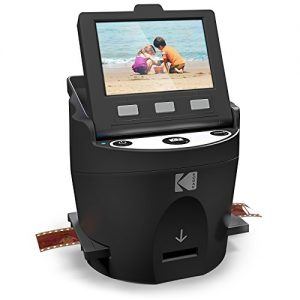 "KODAK SCANZA Digital Film & Slide Scanner – Converts 35mm, 126, 110, Super 8 & 8mm Film Negatives & Slides to JPEG – Includes Large Tilt-Up 3.5"" LCD, Easy-Load Film Inserts, Adapters & More"